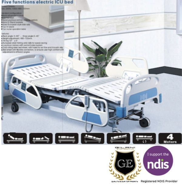 Fully adjustable electric single hospital and home care bed with 5 settings