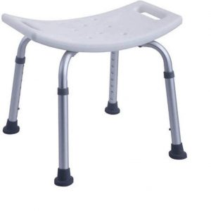 Shower Stool Aluminium frame lightweight Height adjustable legs with suction cups for non slip Hard Plastic Seat with three drain holes Practical and easy to carry Easy to store and travel with Seat length 330mm Seat width 480mm Seat Height 400mm-550mm Seat Centre 210mm Seat Centre to Edge of the Seat 210mm Max Weight 110kg Seat Weight Max 1.5kg