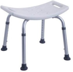 Shower Chair Aluminium frame lightweight Height adjustable legs with suction cups for non slip Hard Plastic Seat with three drain holes Practical and easy to carry Easy to store and travel with Seat length 330mm Seat width 480mm Seat Height 400mm-550mm Seat Centre 210mm Seat Centre to Edge of the Seat 210mm Max Weight 110kg Seat Weight Max 1.5kg