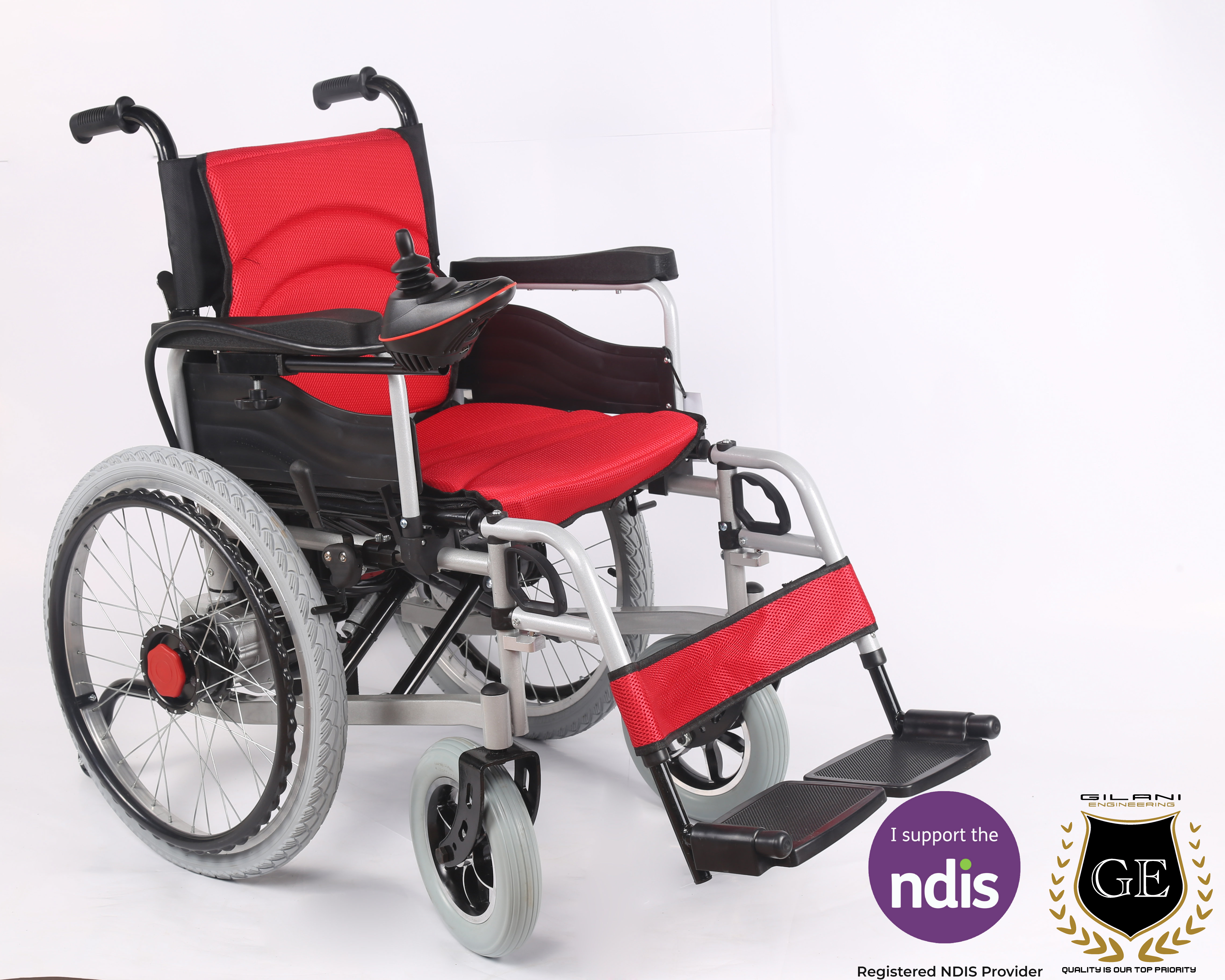 Dual Manual/Electric Travel Wheelchair With Upsized Rear Wheels