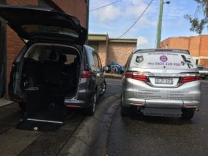 Wheelchair accessible wheelchair taxi mobility vehicle