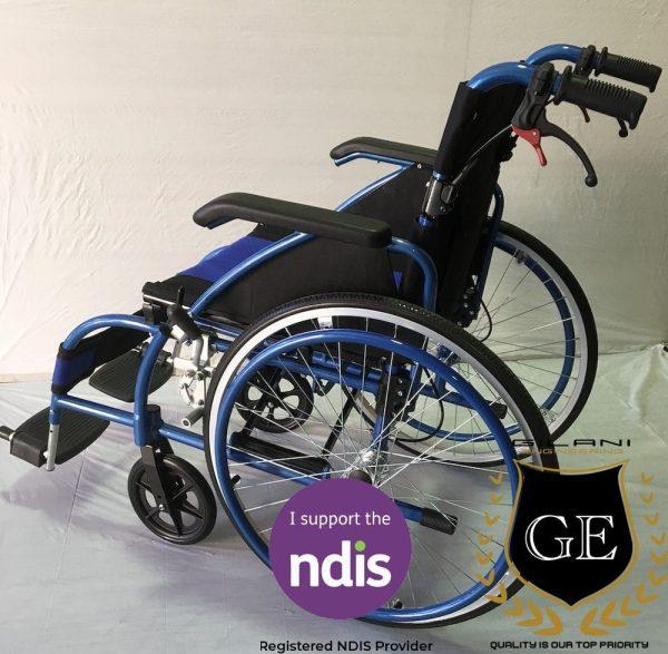 Light weight Aluminium Manual Wheelchair in Blue and black