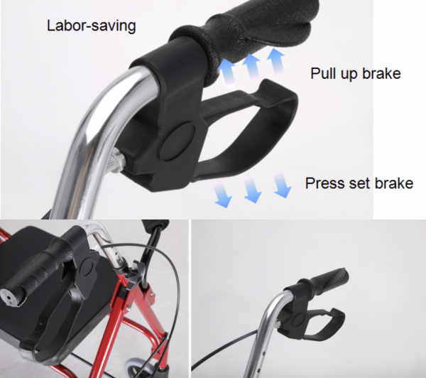 pull up handle brake for four wheel walker