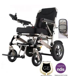 Light weight foldable folding travel portable electric mobility wheelchair with security remote
