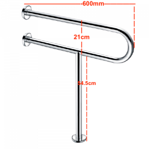 Fixed Toilet Handrail Heavy-Duty Stainless Steel with Vertical Leg