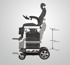 Standing Electric Wheelchair with Adjustable Seat and Backrest Manual Rotation Power Seat Lift GILANI ENGINEERING
