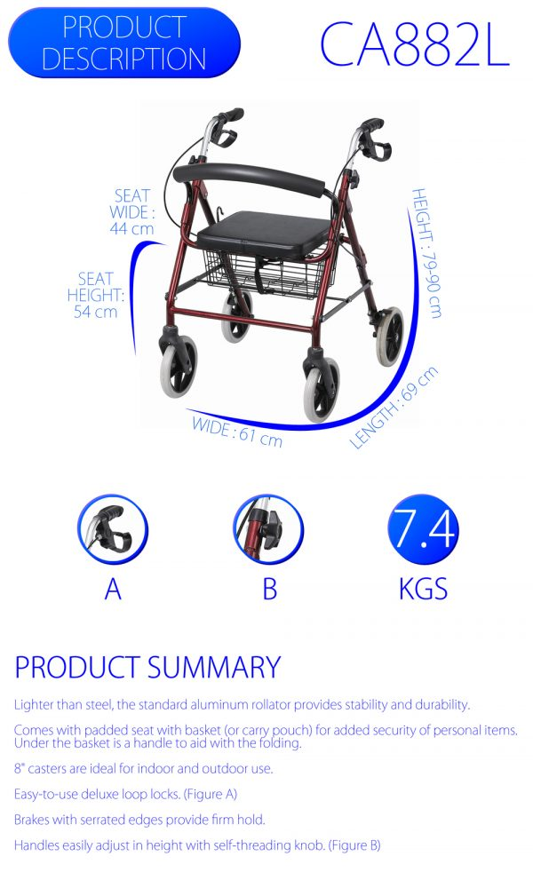Compact Aluminium Walking Frame with Hand Brakes