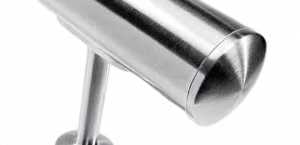 Slightly curved end cap tube made of stainless steel 304 grade.
