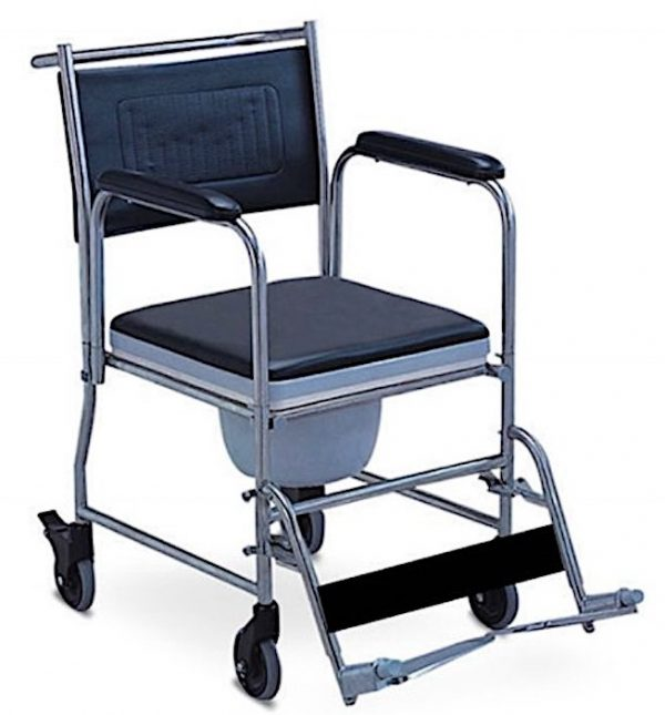Commode Chair shower and toilet aid flip up footplates swing away footrest padded armrest and backrest padded seat for comfort