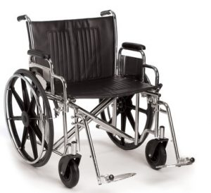 Foldable Bariatric Manual Wheelchair Extra Wide Seat Removable Leg Rest Heavy Duty 250kg Weight Capacity