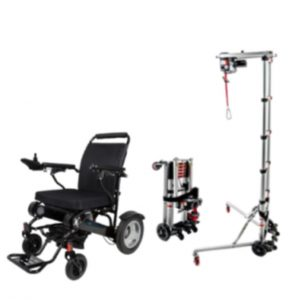 Portable Electric Wheelchair Transfer Hoist Plus GED09 electric Folding Wheelchair Sale Package Deal