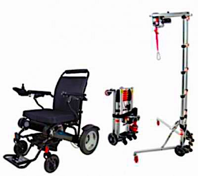 Portable Electric Wheelchair Transfer Hoist Plus GED09 electric Folding Wheelchair Sale Package Deal Folding Electric Wheelchairs Australia