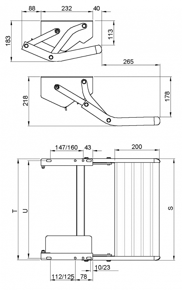 Diagram for foldable step
