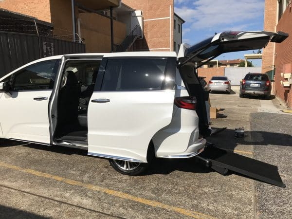 car conversion with a fully automatic rear access ramp is designed to have the option of either having one wheelchair or two.