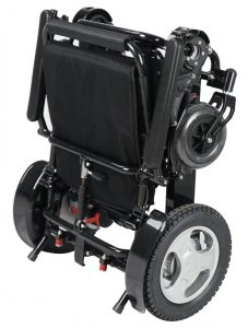 Compact foldable midnight black electric wheelchair