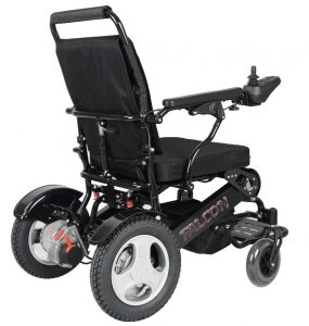 Side view of midnight black falcon electric wheelchair