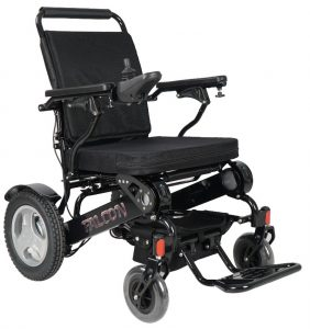 Angled side view of midnight black falcon electric wheelchair