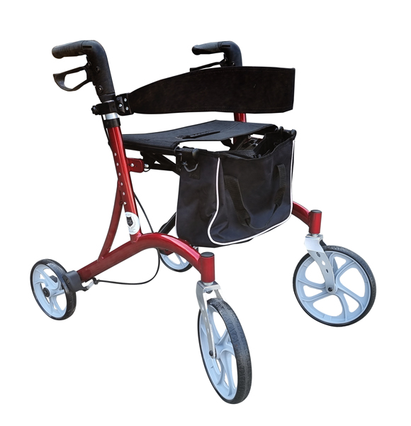 Red rollater walking frame foldable lightweight height adjustable durable walking frame with seat and backrest strap support
