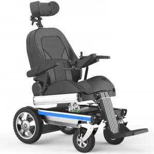 Standing electric wheelchair with rotation function power wheelchair headrest adjustment