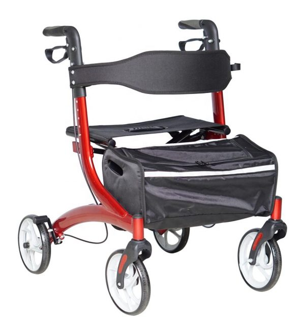 Aluminium walking Rollator lightweight easy side folding compact travel light