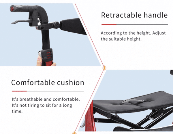 Retractable Handle walking rollator frame