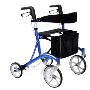 """Rehabilitation equipment Lightweight aluminium rollator, nylon seat and back, with adjustable back and handle, 8 """"PVC / PP / rubber wheels, with large shopping bag"""