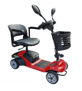 4 wheel Mobility scooter, power option with manual push 4 wheel solid tyres scooter with basket mirrors and rotating seat