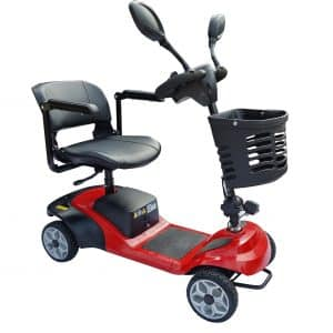 Pathrider 4 wheel Mobility scooter, power option with manual push 4 wheel solid tyres scooter with basket mirrors and rotating seat