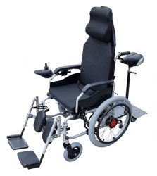 Dual Manual and Electric Wheelchair Self propelled with reclining backrest and elevating leg rest and foot plate