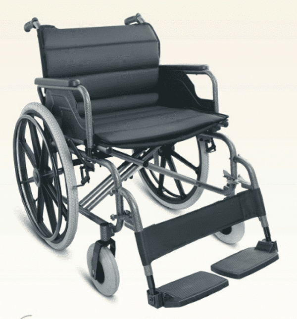 Bariatric manual wheelchair pushchair foldable wheelchair with anti tipping wheels 150 kg weight capacity