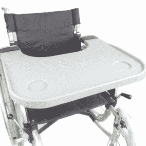 Wheelchair tray for your food and drink easy to fit and remove wheelchair accessories