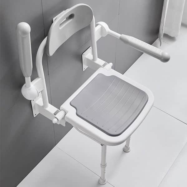 mobility shop folding shower chair with arm rest for wall